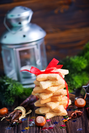 gluttonous: christmas cookies and christmas decoration on a table