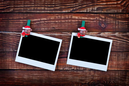 felicitation: Christmas background.photo on wood background decorated with christmas clothespin Stock Photo