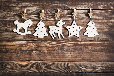 textille: christmas decoration on the wooden table, christmas background