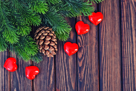 textille: christmas decoration on the wooden table, christma background