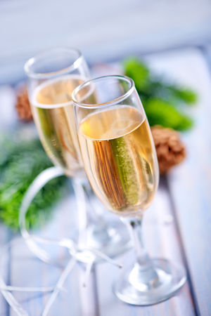 hearthside: Two Champagne Glass on the wooden table Stock Photo