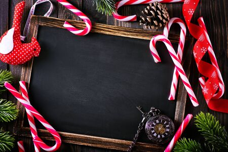 christamas: Christmas background, Christmas decoration and black board for note