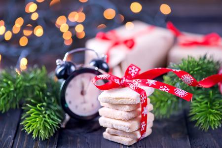 traditional christmas: christmas sweety and christmas decoration on a table