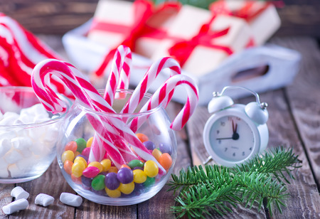 christmas sweety and decoration on a table
