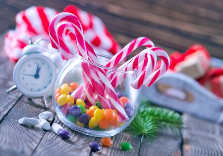gum tree: christmas sweety and decoration on a table