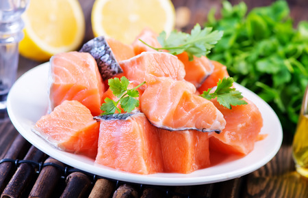 red salmon: red salmon with fresh parsley and spice