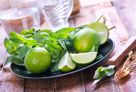 boozer: mint and fresh limes on the plate