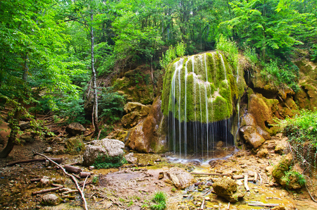 murmur: waterfall in forest, waterfall in Crimea spring forest