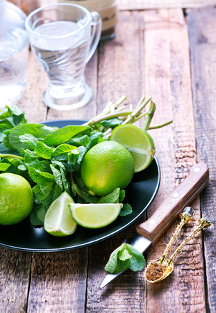 boozer: lime,sugar and fresh mint on a table
