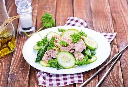 tuna mayo: salad with tuna on plate and on a table