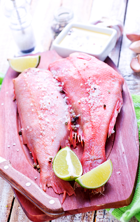 perch: raw ocean perch with salt and spice