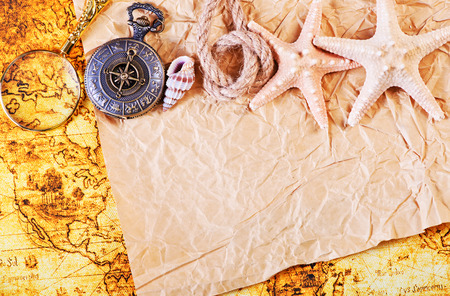 tool transparent white world: background with old map and retro compass