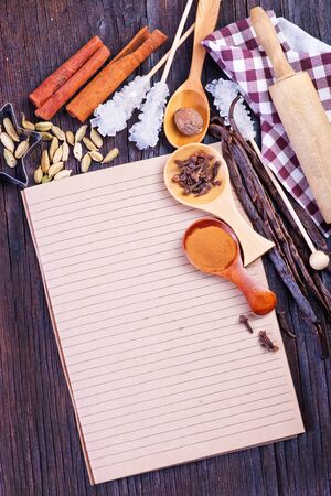 punch spice: spice for baking on a the wooden table
