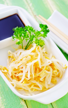 soy sprouts: sprouts and soy sauce