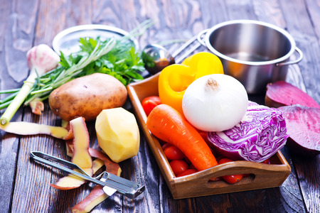 dacha: fresh raw vegetables on the wooden table Stock Photo