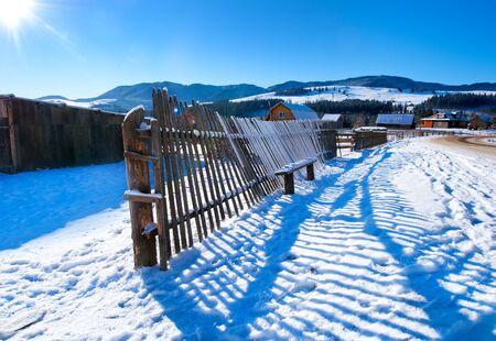 Snow in mountains, Winter mountains in ukraine