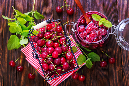 cherry jam and fresh berries on a table