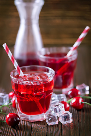 christmas drink: cherry drink in glass, christmas drink in glass