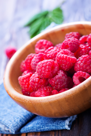 raspberry in bowl and on a table