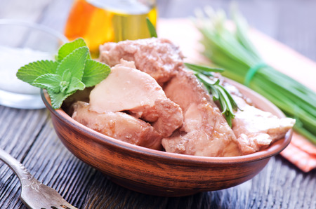 delikatesse: liver cod in bowl and on a table