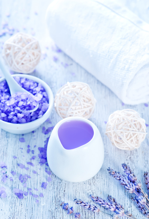 spa objects: spa objects, lavender soap and towel on a table