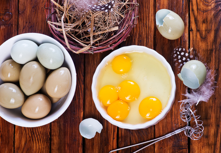 yolks: Eggs pheasant on a table, yolks of Eggs pheasant