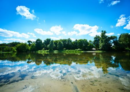 summer lake in Ukraine, beach at lake