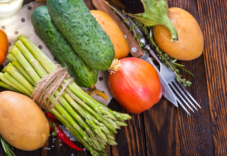 fresh vegetables, autumn harvest of vegetables on a table Stock Photo