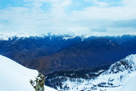 hight: winter hight mountains in Sochi. Russian Federstion Stock Photo