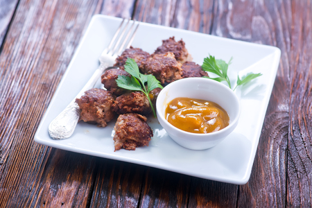 meat balls with sauce on the plate Stock Photo