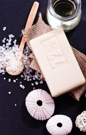 spa objects: spa objects on a table,sea salt and soap