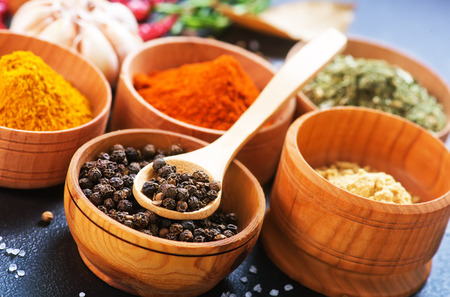 aroma bowl: aroma spices in wooden bowl and on a table