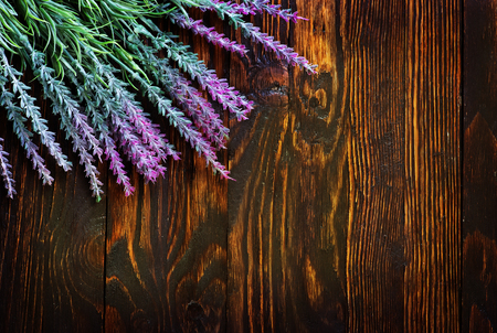 downtime: lavender on the wooden table, lavender on the wooden background Stock Photo