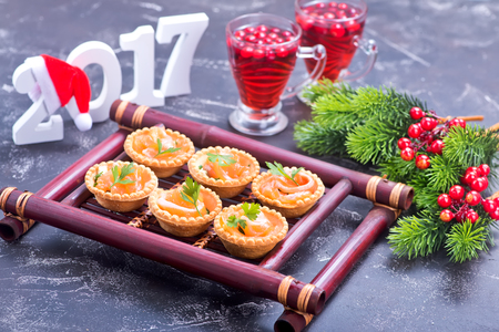 red salmon: canape with red salmon on the bamboo tray