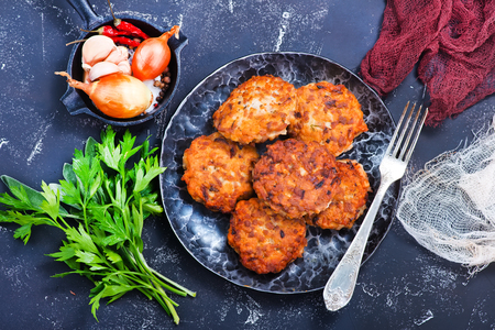 chicken cutlets with spice and fresh greens Stock Photo