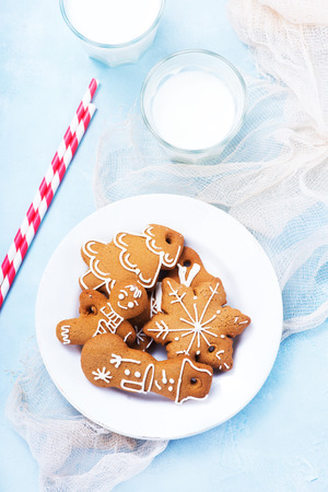 winterberry: cookies and candycane on a table, christmas background Stock Photo