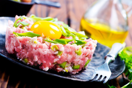 caper: minced meat with spice and raw yolk Stock Photo