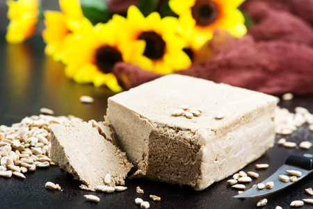 halva on plate and on a table