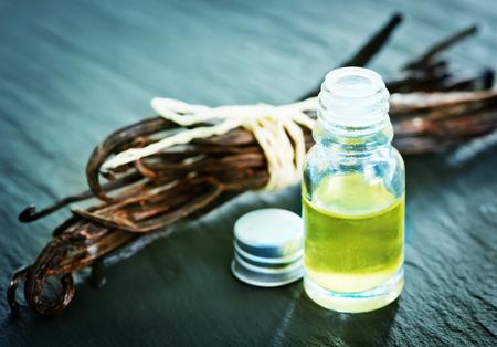 aroma oil in glass bottle, vanilla oil