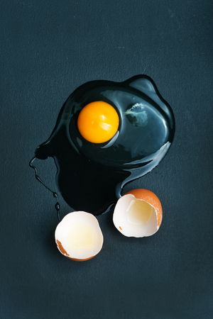 crus: raw chicken eggs on the kitchen table,