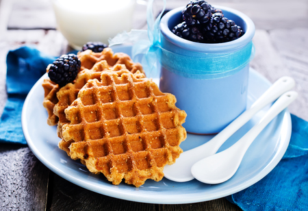 waffles on plate and on a table Stock Photo