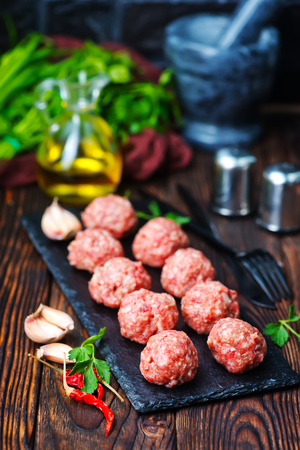 raw meat balls with spice on a table