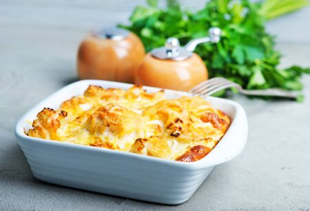 gratin with cauliflower and cheese on a table