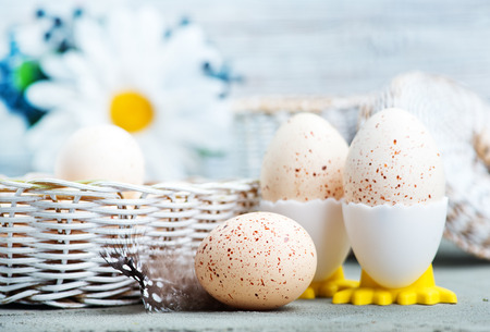 easter eggs on a tabble, easter background Stock Photo