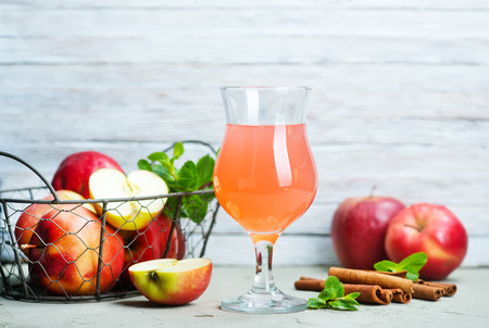 apple cider in glass on a table Stock Photo
