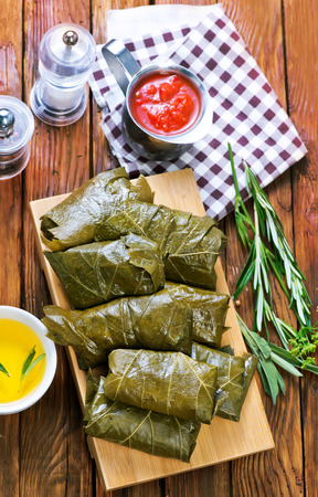 dolma with sauce and spice on the tray