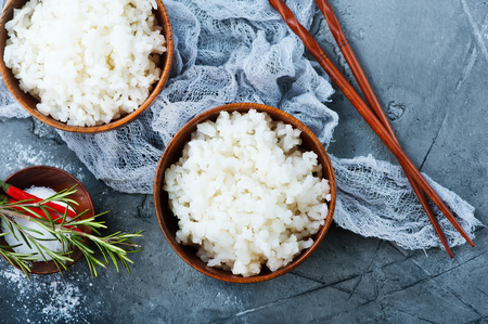 boiled rice in bowl on a table