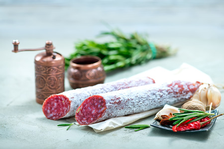air dried: salami with aroma spice on a table