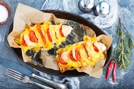 chicken breast with cheese and tomato