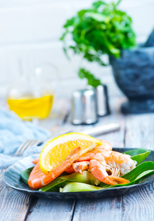 salad with boiled shrimps and aroma spice, stock photo
